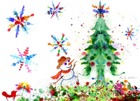christmas 2017 snowman & flakes
