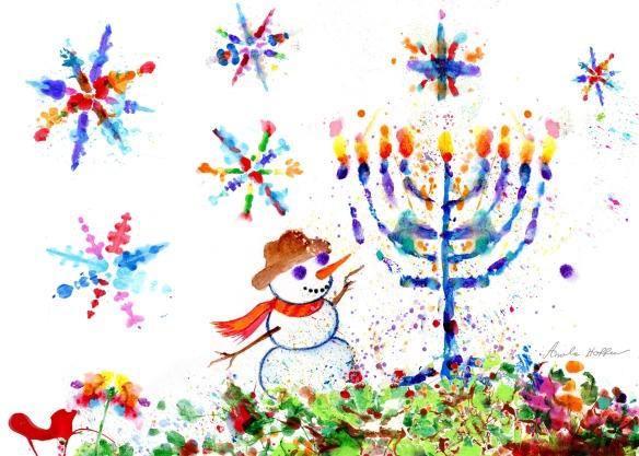 Hanukkah 2017 snowman & menorah