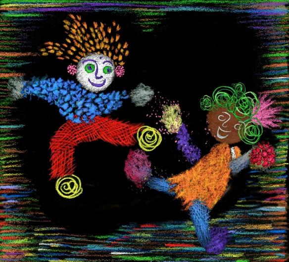 boy & girl crayons