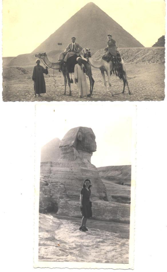 savta near sphinx & pyramid