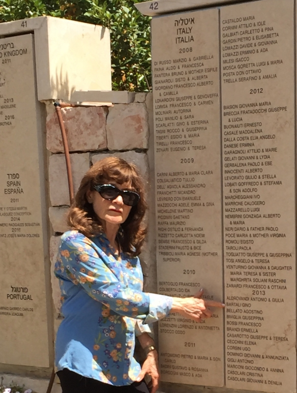 Amalia in front of Righteous Among the Nations wall