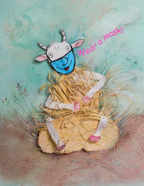 goat wears mask